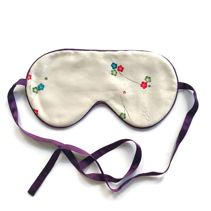 VINTAGE SILK EYE MASK - PETITE GOLD CHERRY