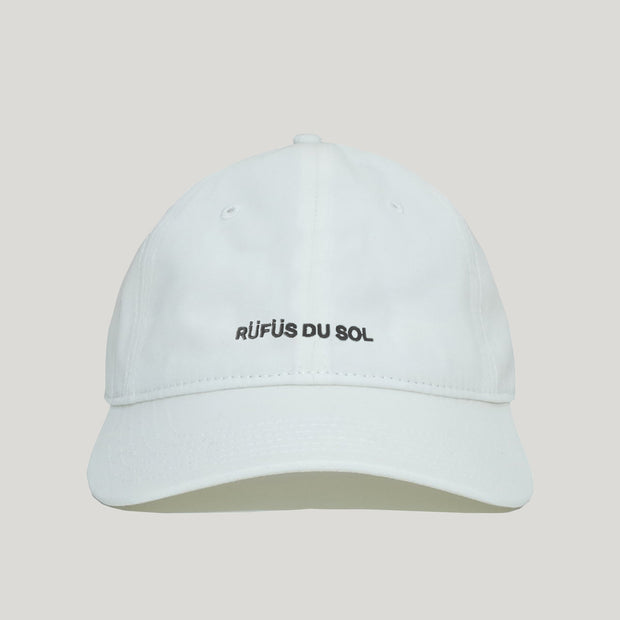 White Embroidered Logo Dad Hat