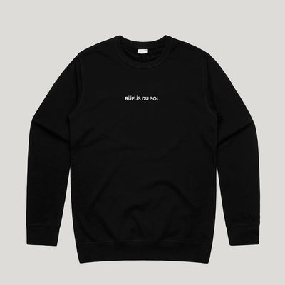 Black Embroidered Logo Crewneck