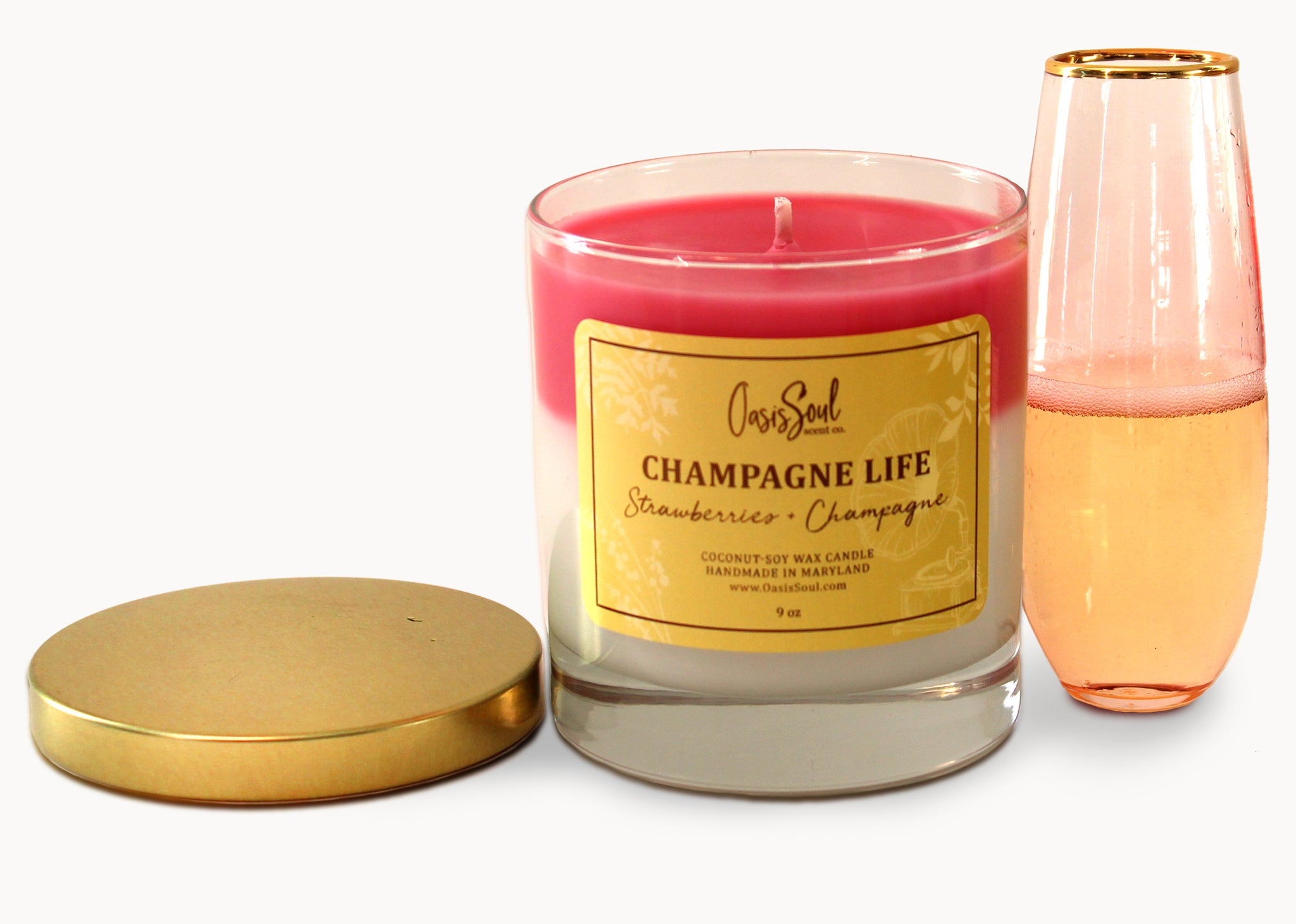 CHAMPAGNE LIFE - Celebrate Layered Candle {strawberries + champagne}