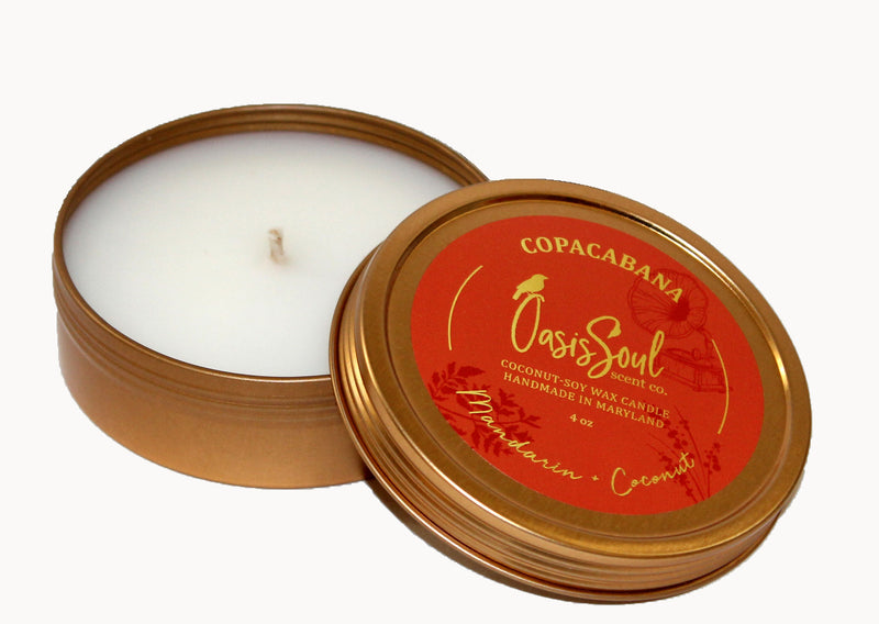 COPACABANA - Gold Tin Candle {mandarin + coconut}