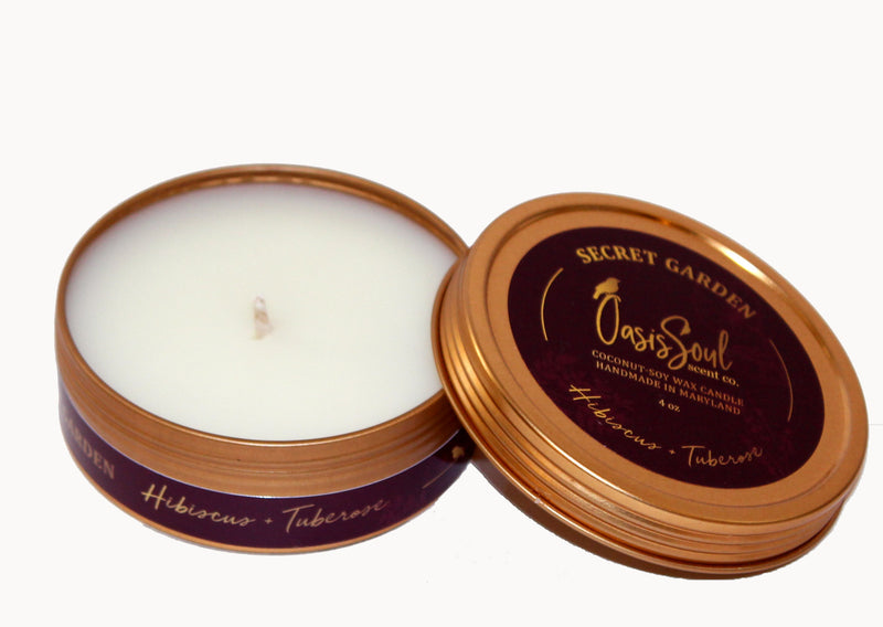 SECRET GARDEN - Gold Tin Candle {hibiscus + tuberose}
