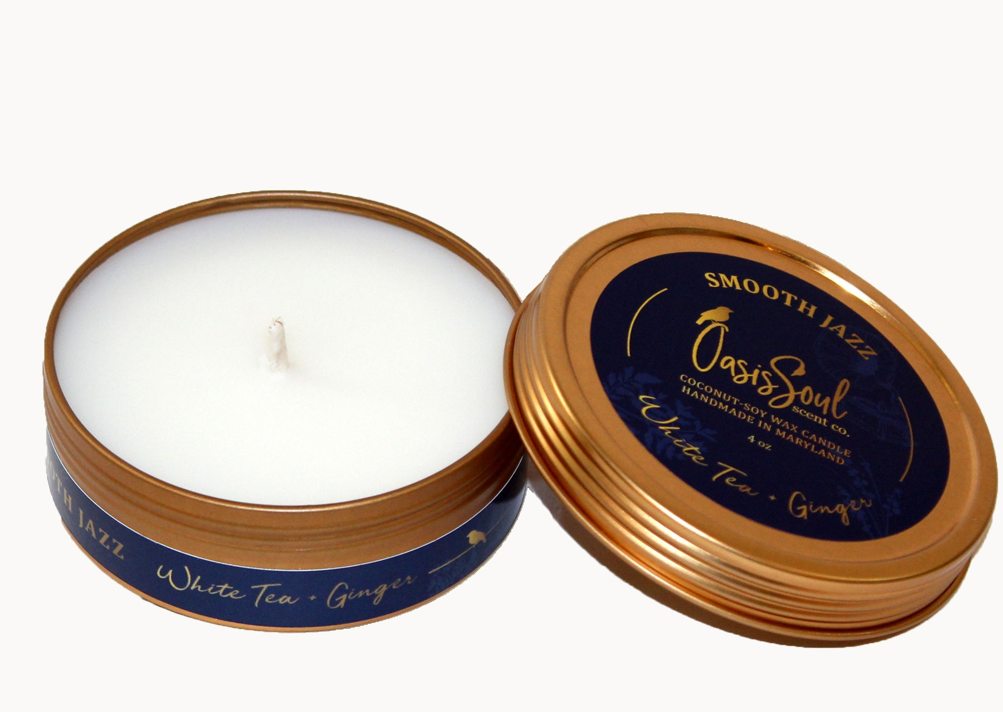 SMOOTH JAZZ - Gold Tin Candle {white tea + ginger}