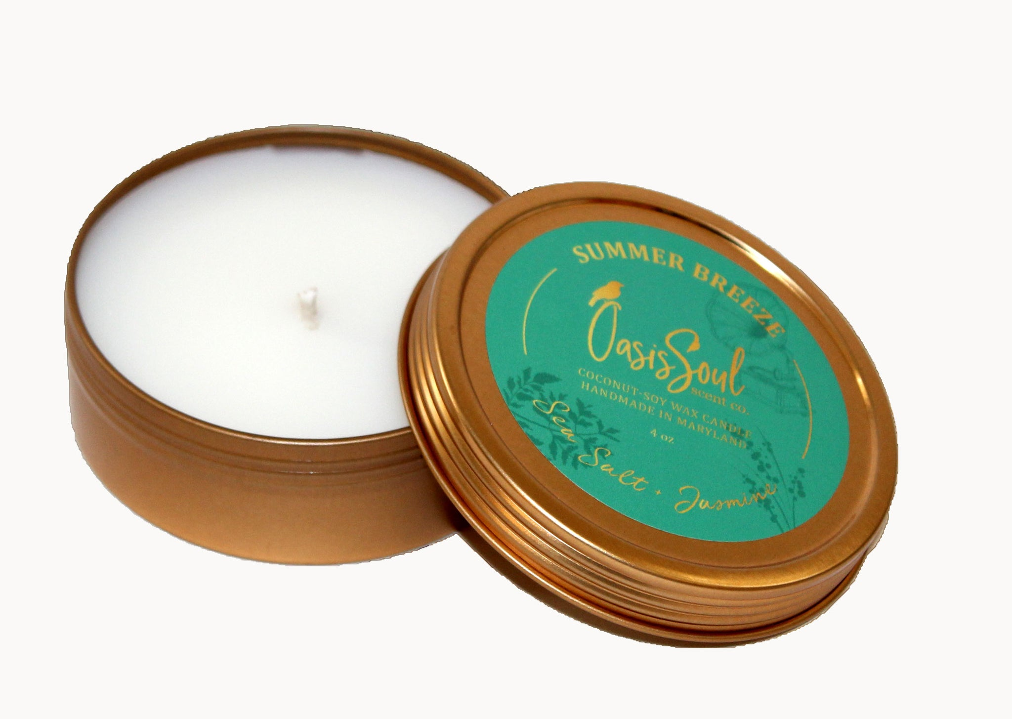 SUMMER BREEZE - Gold Tin Candle {sea salt + jasmine}