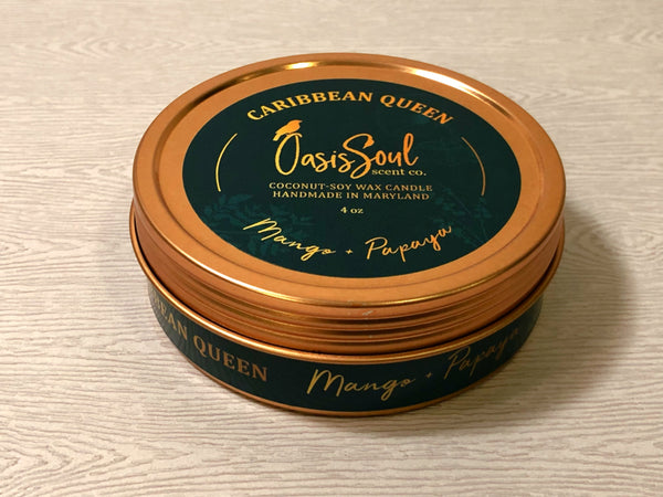 CARIBBEAN QUEEN - Gold Tin Candle {mango + papaya}