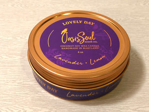 LOVELY DAY - Gold Tin Candle {lavender + lemon}