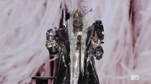 The star wore a silver metallic wig to the MTV VMAs (Credit: Backgrid)