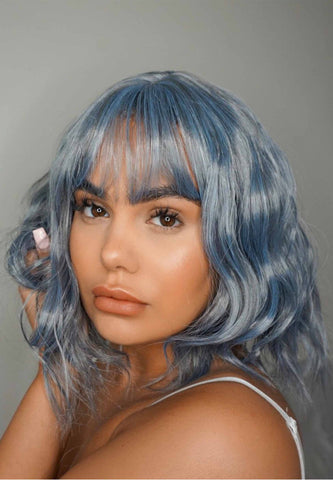 Blue Rinse Crop Synthetic Wig with Fringe