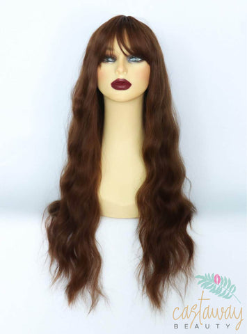 brunette wig with fringe uk