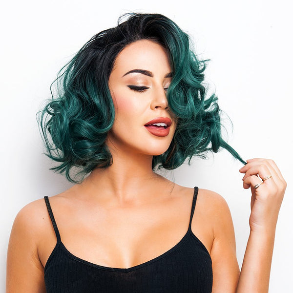 Emerald Ombre Synthetic Lace Front WIg