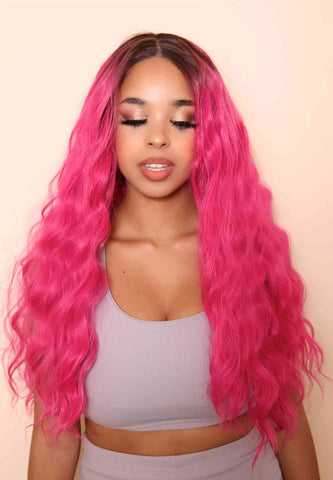 Hot pink synthetic lace front wig