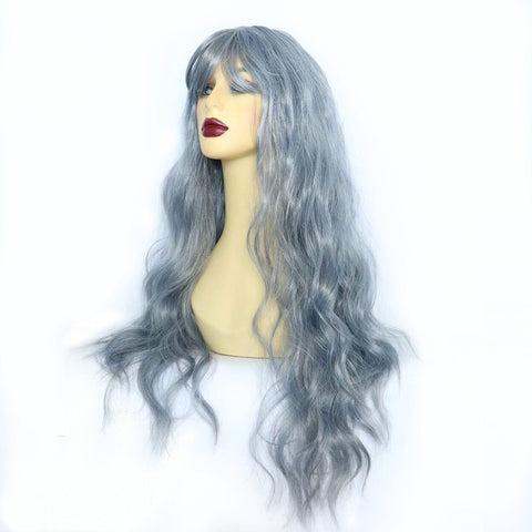 Blue Rinse Long Synthetic Wig with Fringe