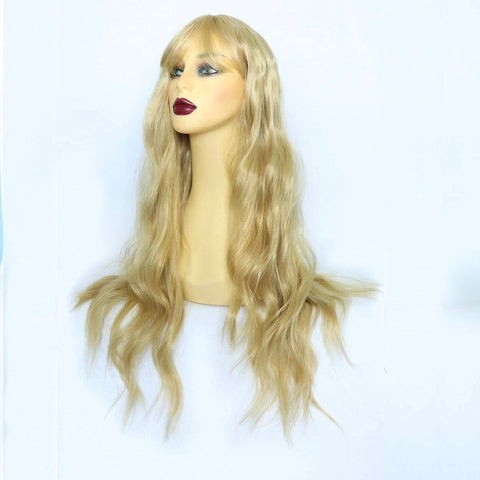 Long Honey Blonde Synthetic Wig with Fringe