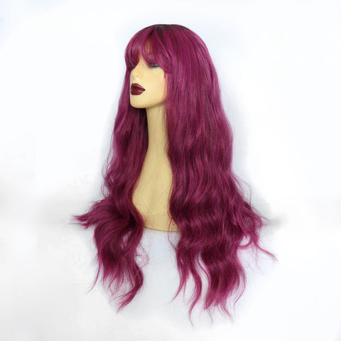 Mixed Berry Long Synthetic Wig with Fringe