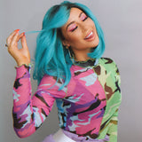 Turquoise Crop Luxury Lace Front Wig