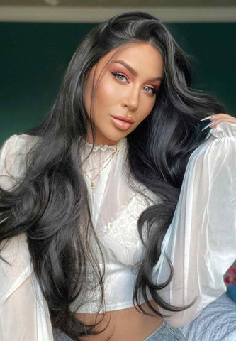 Kim K Long Black Synthetic Lace Front Wig