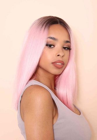Pink Crop Synthetic Lace Front wig