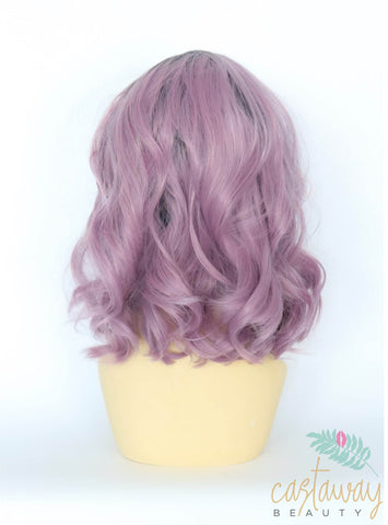 purple cropped wig with roots