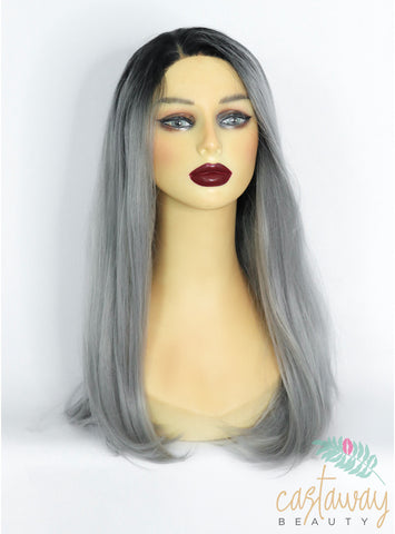 Silky Grey Synthetic Lace Front Wig