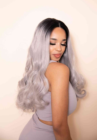 Curly Silver Locks Synthetic Lace Front Wig