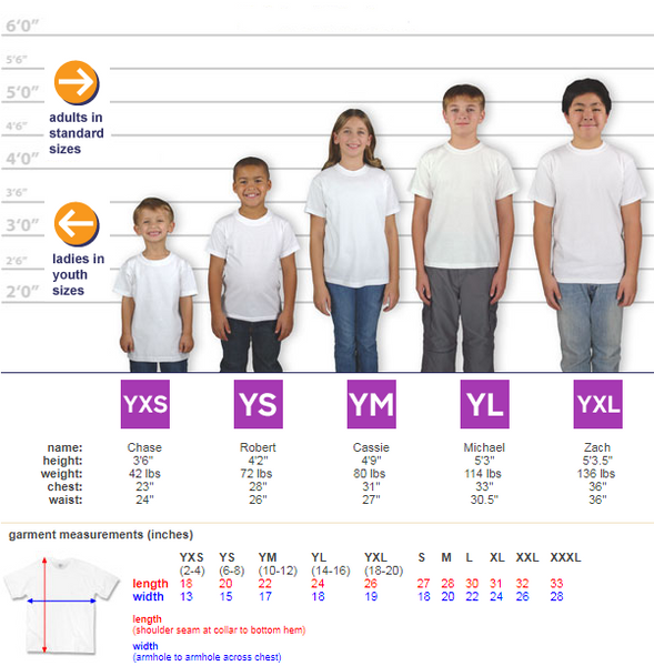 Youth T-Shirt Size Lineup