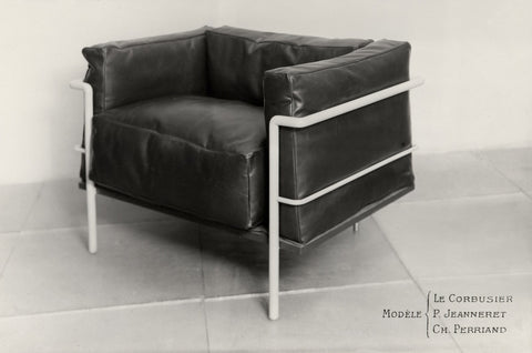 A 1928 model of the iconic LC2 chair that Perriand designed with Le Corbusier and Pierre Jeanneret. Image courtesy Fondation Louis Vuitton