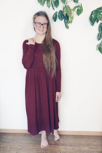Wine Stacey Dress