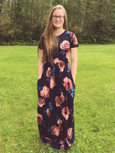 Load image into Gallery viewer, Modest navy floral maxi dress