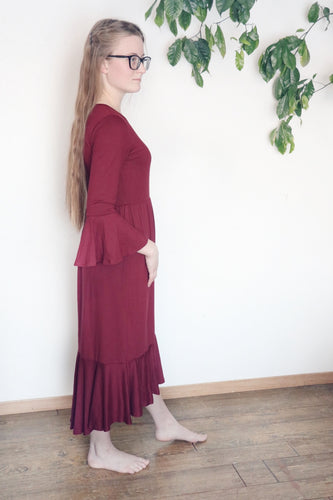 Burgundy Ruffle Sasha Dress