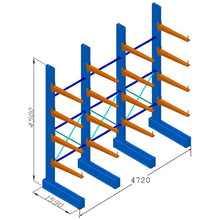 Heavy Duty Cantilever Racking - Single Sided - (H)4.5m x (L)4.7m - 900mm Arms