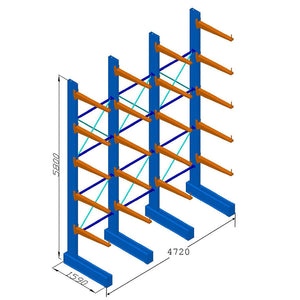 Heavy Duty Cantilever Racking - (H) 5.8m x (L)4.7m - Single Sided  - 900mm Arms