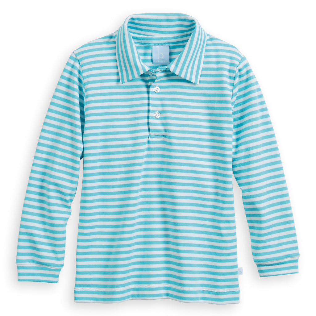 Aqua/White Striped Pima Polo Tee (4490178134096)