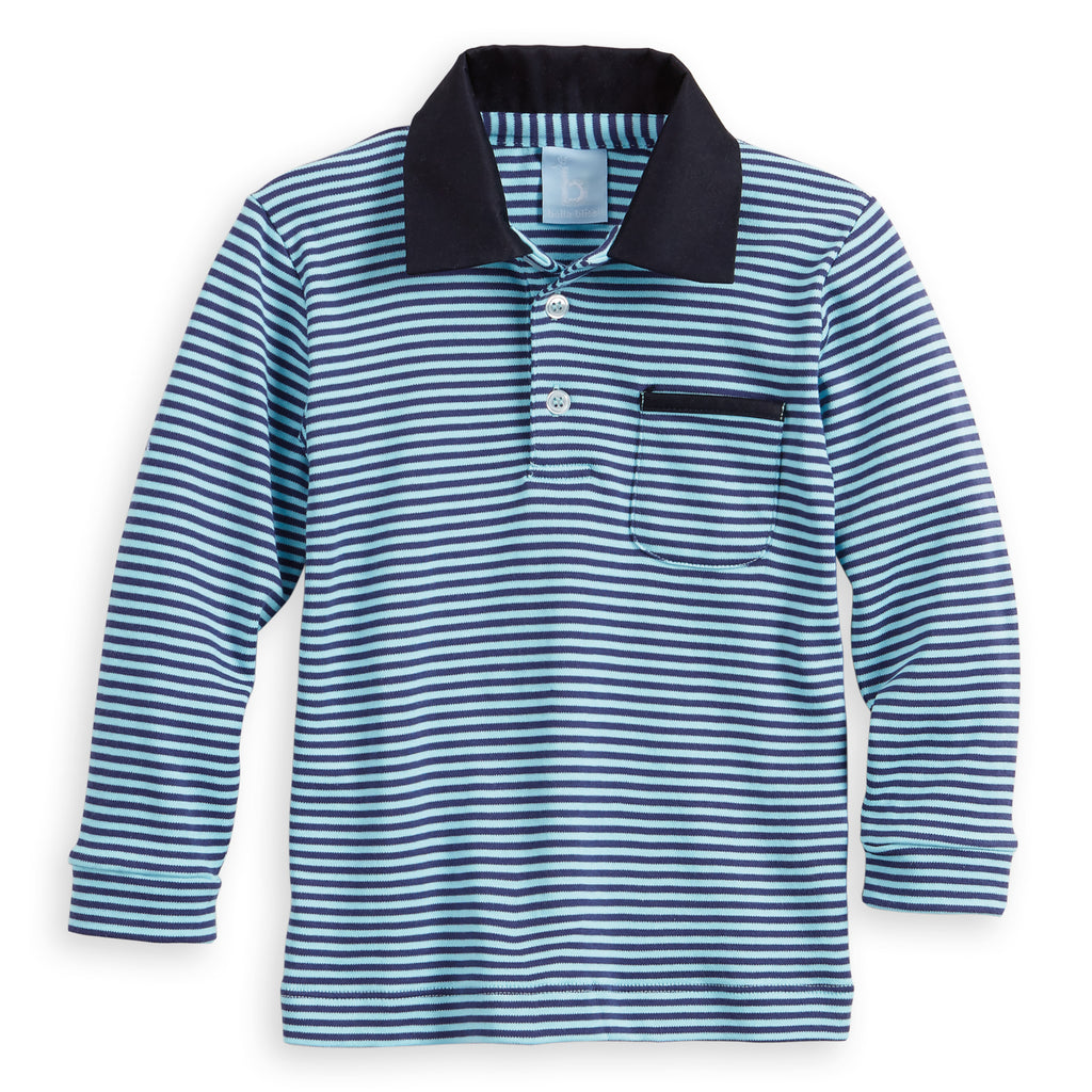 Long Sleeve Striped Pima Ward Polo Tee (4487995818064)