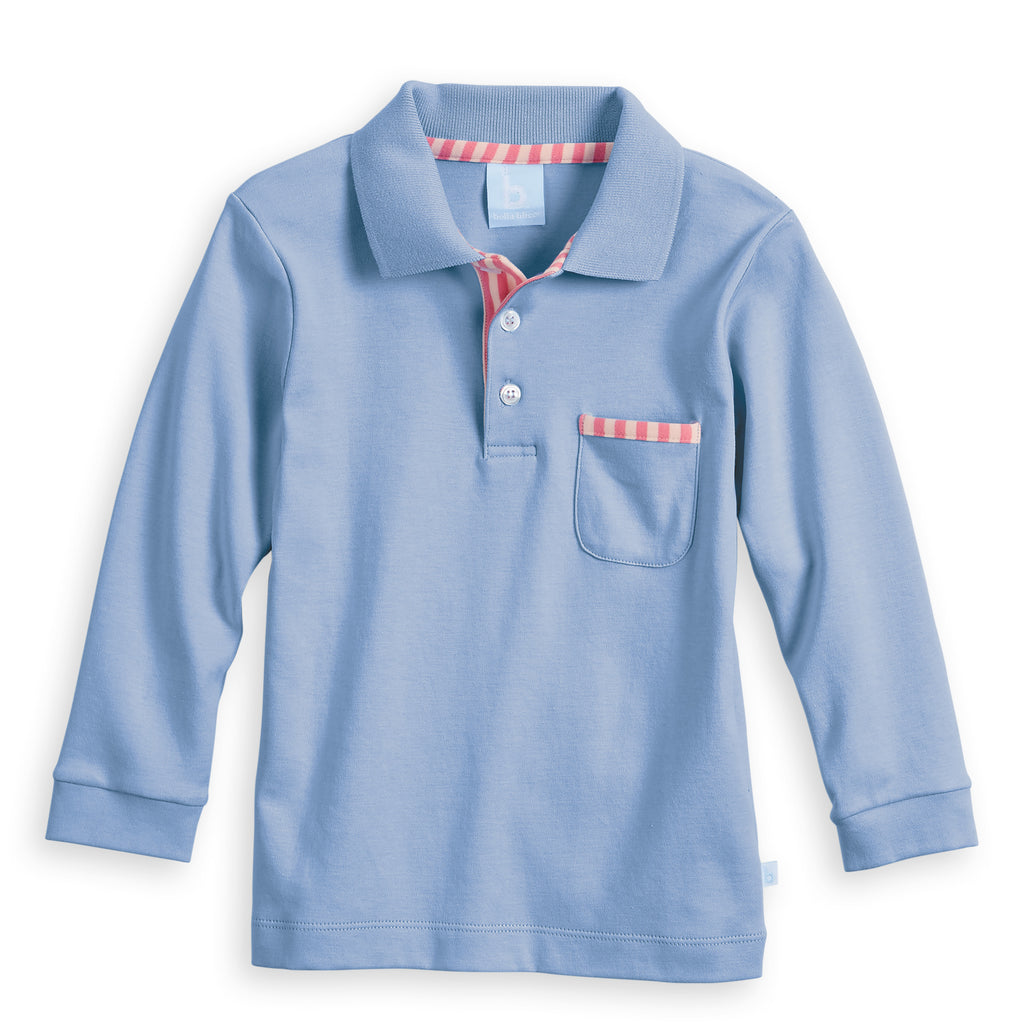 Blue Long Sleeve Pima Ward Polo