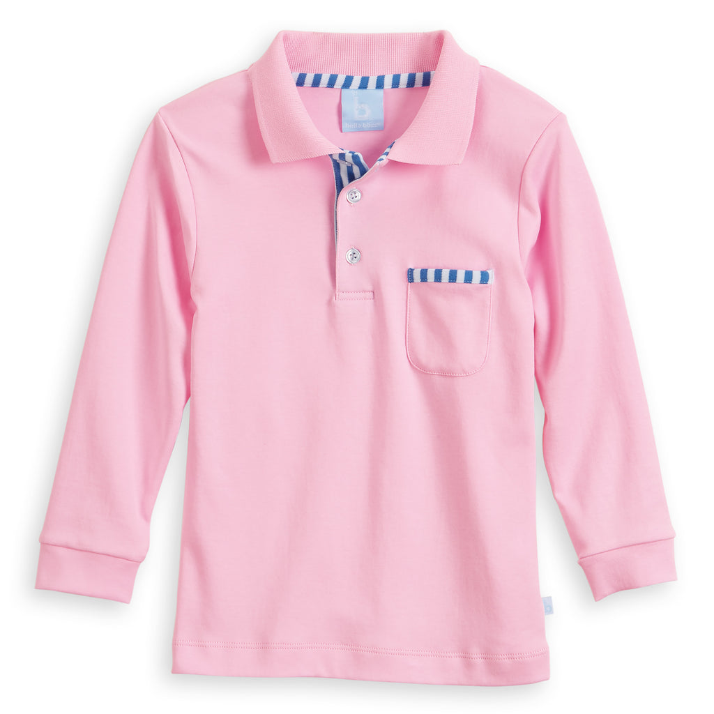 Long Sleeve Pima Ward Polo Tee (4487990476880)
