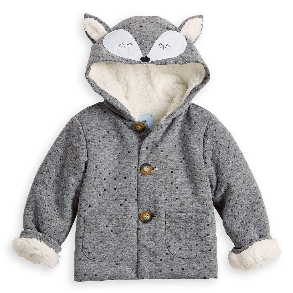 Quilted Jersey Fox Coat (4484578607184)