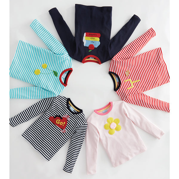 Striped Long Sleeve Applique Tee