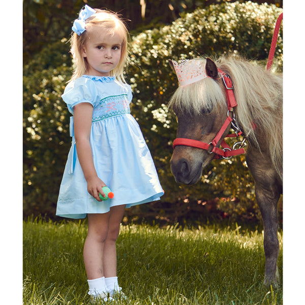 Smocked Taffeta Bow Dress