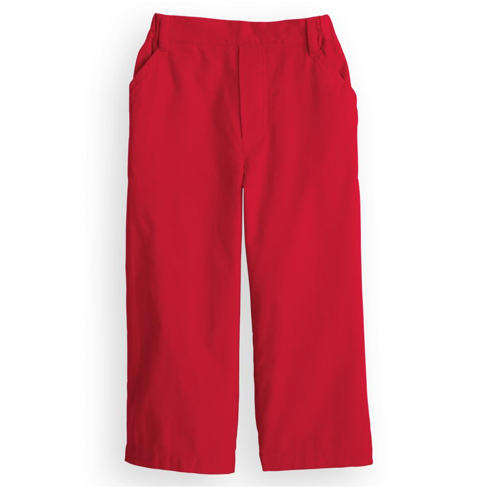 Red Corduroy Faux Zip Pant