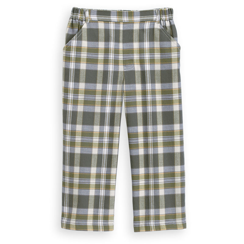 Holiday Plaid Faux Zip Pant