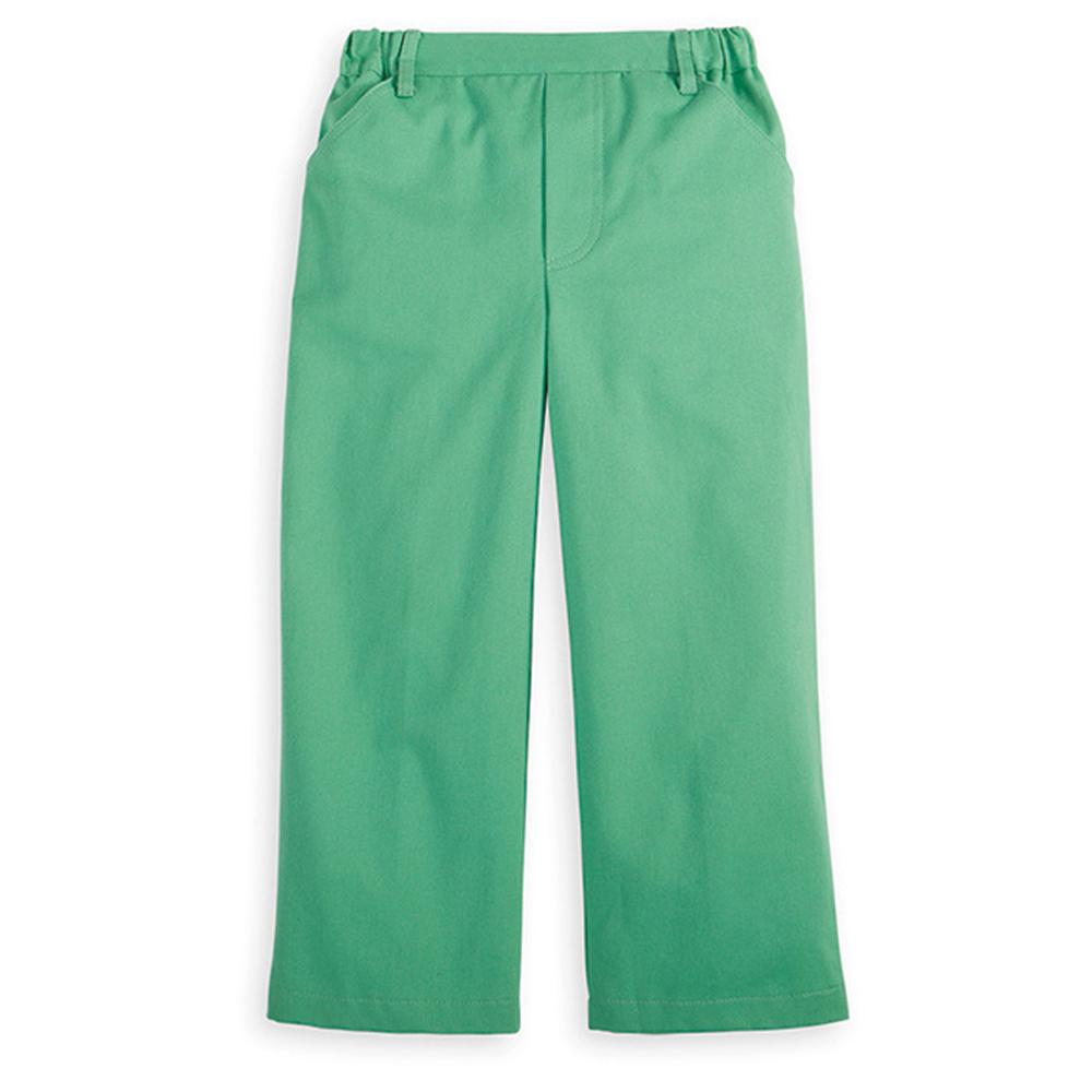 Green Twill Faux Zip Pant
