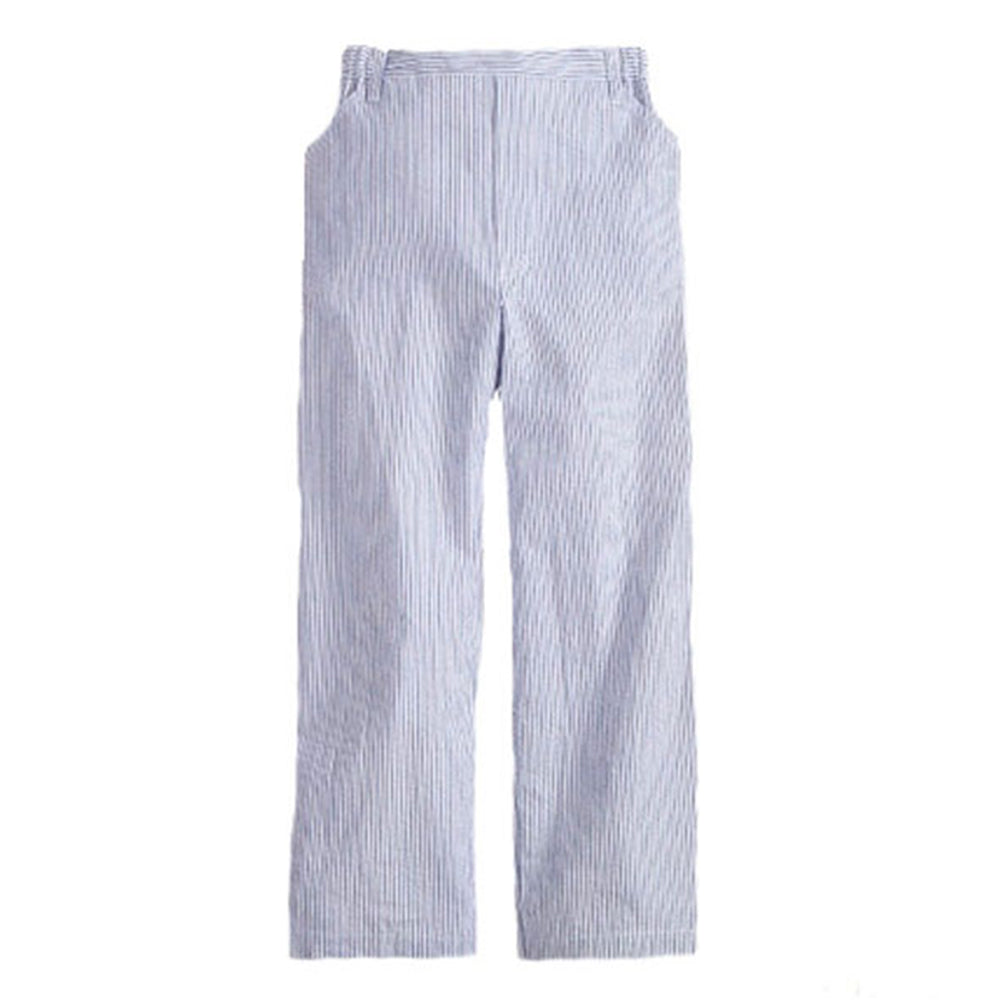 Seersucker Stripe Faux Zip Pant