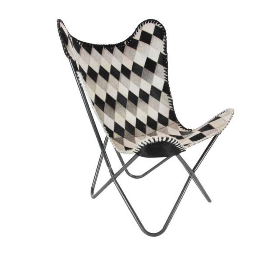 Metal & Leather Cowhide Chair