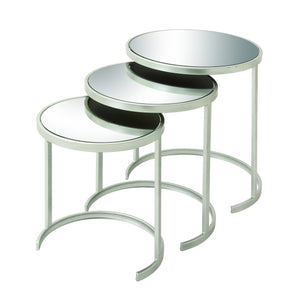 METAL MIRROR NESTED TABLES x 3