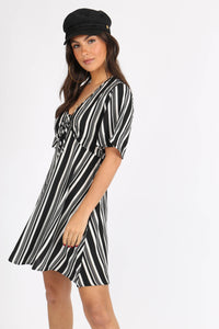 Monochrome Stripe Babydoll Dress