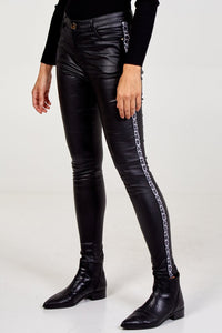 Coated Jeans With Animal Print Side Stripe