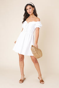 Lace Up Detail Sweetheart Skater Dress
