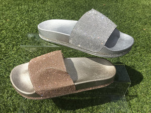 Diamante Sliders - Rose Gold/Silver