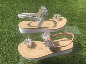 Diamante Flower Sandals