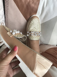 Gold Satin Sparkle Pearl & Diamante Loafers